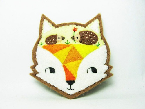 Fox Mind - The Paved Way to Hedgehog Love Brooch by Alina Bunaciu (Hand Embroidery)