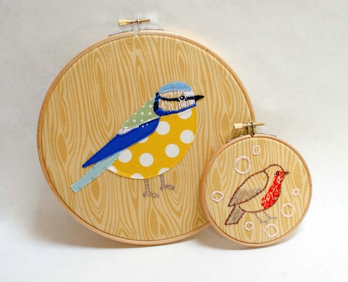Blue Tit and Robin Hoop Art by Minimanna (Hand Embroidery)