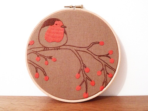 'Robin on a Tree' Hoop Art by Doalittledance (Hand Embroidery)