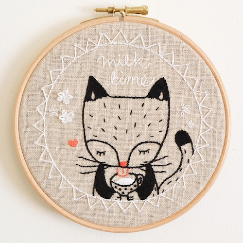 'Milk Time Kitty Cat' Hoop Art by Doalittledance (Hand Embroidery)