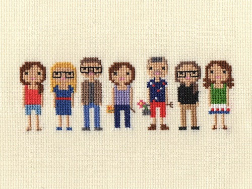 Large Family Pixel Portrait by Scarlet Pyjamas (Hand Embroidery)