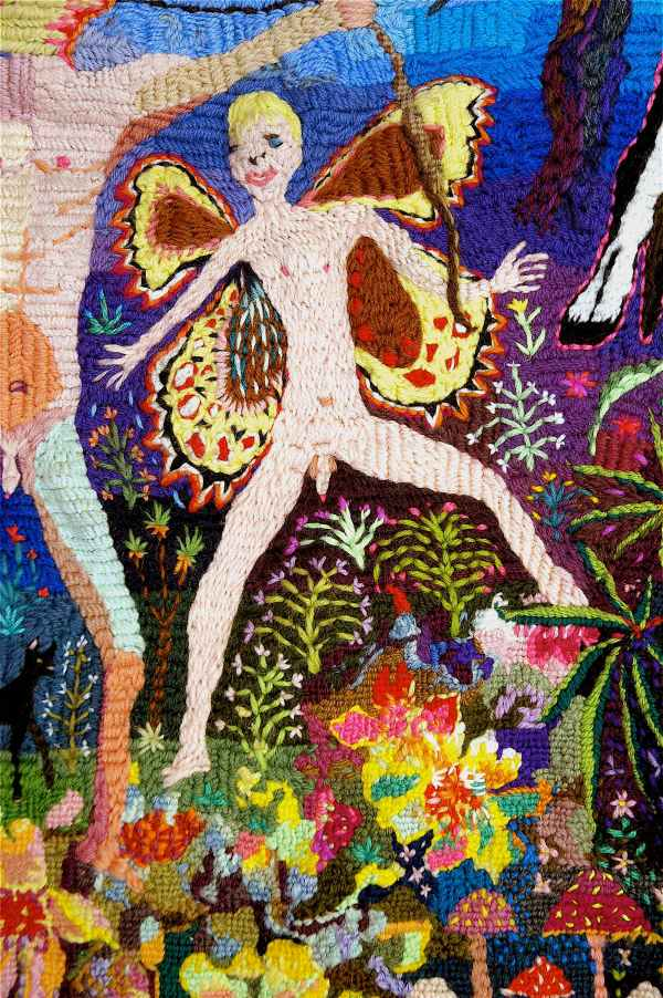 Paul Yore, Boys Gone Wild 2012 (detail), Wool needlepoint 200cmx90cm. Collection Heide Museum of Modern Art.