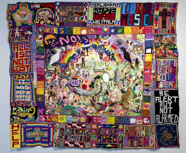 Paul Yore, WELCOME TO HELL (2014). Mixed media textile found objectsmaterial, beads, buttons, sequins, plastic flowers, felt, wool, cotton thread. Dimensions variable approx. 2.9 metres x 2.6 metres