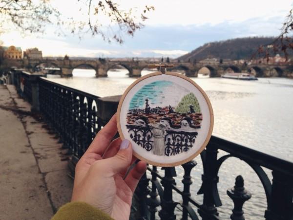 Teresa Lim - Sew Wanderlust Charles Bridge, Prague - Hand Embroidery