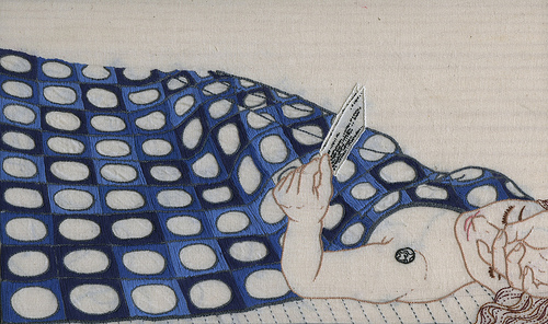 Full Moon. Hand embroidery by Meagan Ileana.