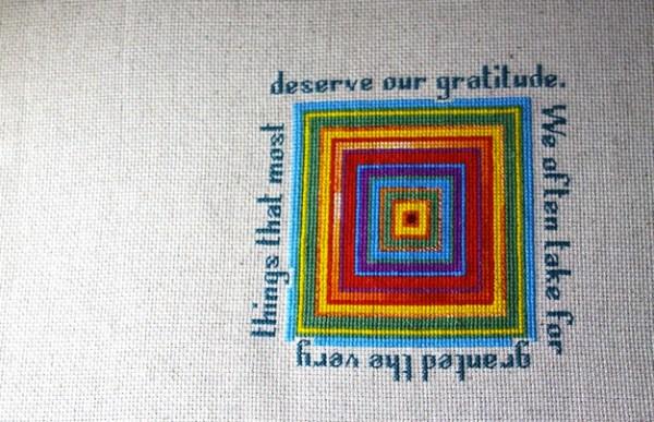 Gratitude, improvisational X stitch, 2012.
