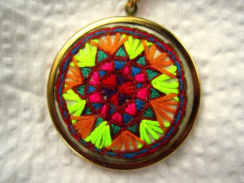 Neon Star Necklace by The Neon Forest (Hand Embroidery)