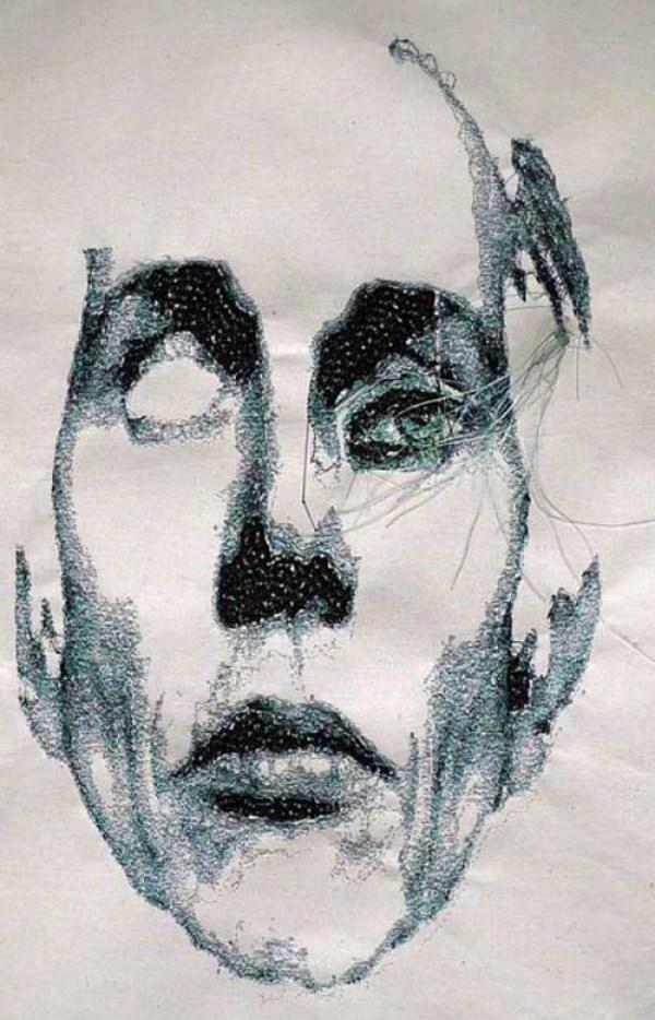 Marjolein Starreveld's machine embroidered portraits