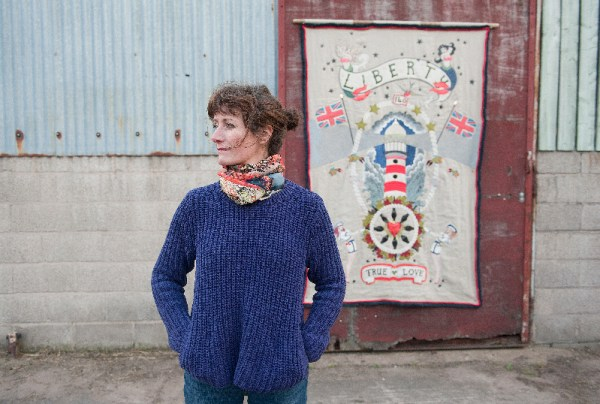 Artist Louise Gardiner from Styal near Wilmslow Liberty quilt . Pic Emma Williams