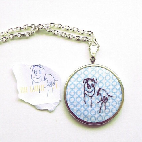 Custom Child's Artwork Pendant by Heartful Stitches (Hand Embroidery)