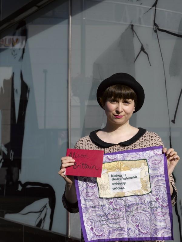Craftivist Gemma Morrison with her hanky and handwritten letter for M&S board member Alison Brittain - photos by PollyBraden.com
