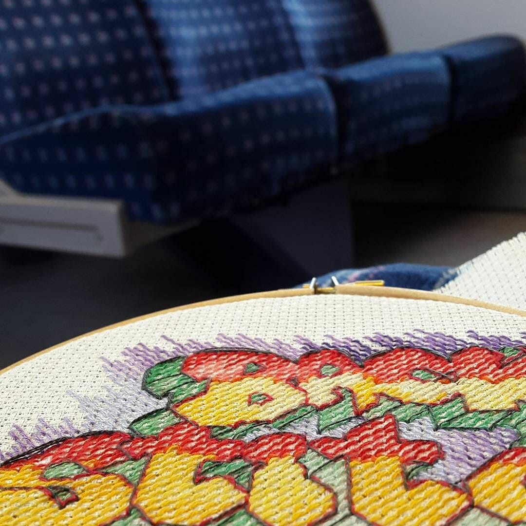 Stitching in the train en route to the #knittingandstitchingshow where I'll be checking out the action, and hanging out at the #embroiderersguild stand this afternoon. Come and say hi! #mrxoutnabout #mrxstitch #crossstitch #crossstitchfrontiers