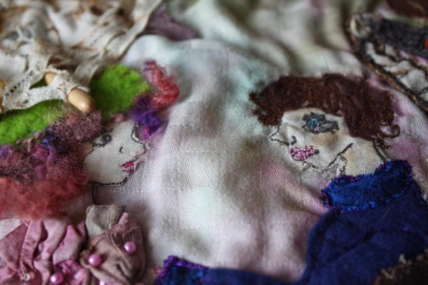 Faces close-up: Embroidery inspired by The Torn Umbrella painting, Ailish Henderson