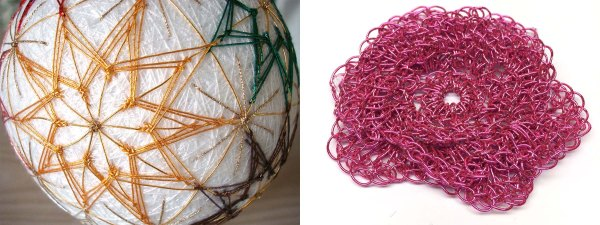 Japan Threads can be used in a variety of techniques, such as Temari (the photo on the left) and crochet (photo on the right).