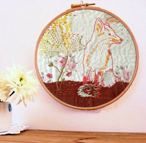 Fox and Foxgloves Embroidery Pattern by Jenny Blair Art (Hand Embroidery)