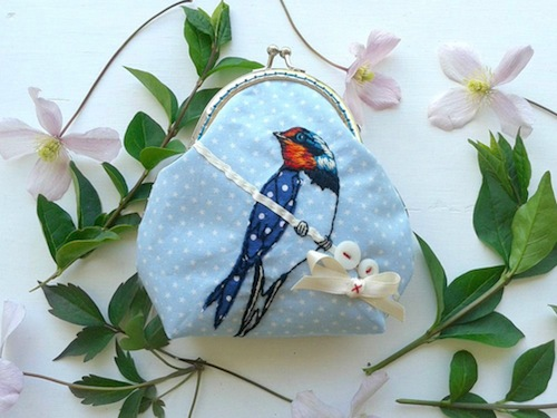 Swallow Purse by Jenny Blair Art (Hand Embroidery)