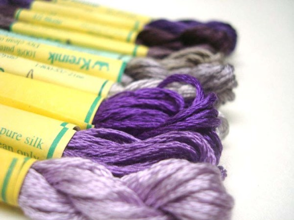 Beautiful silk floss in purple, eggplant, and dusty lavender shades. They feel very spring-like, but I can see them in vineyard designs, royal-themed projects, dragon or fantasy motifs... Spot the colors here: http://www.kreinik.com/shops/Silk-Mori-2.5m-Skeins.html