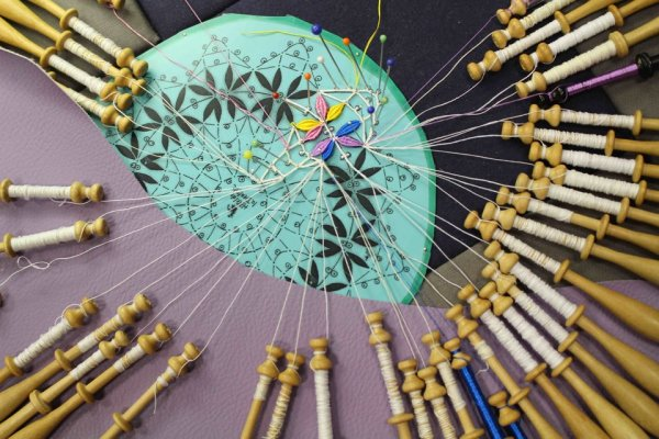 Colourful handmade Cluny bobbin lace Photo Credit: Elena Kanagy-Loux