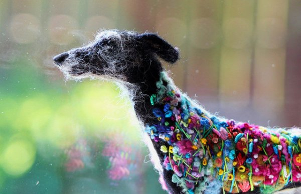 Needle Felted Flower Power Hound by Felted Fido.
