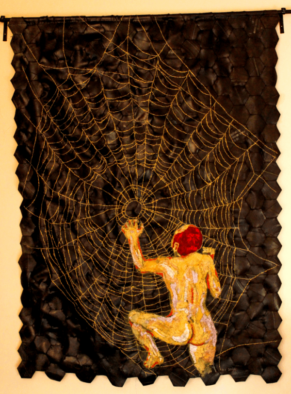 In the days when Bertha spun, 2015. Cotton and golden thread on rubber.