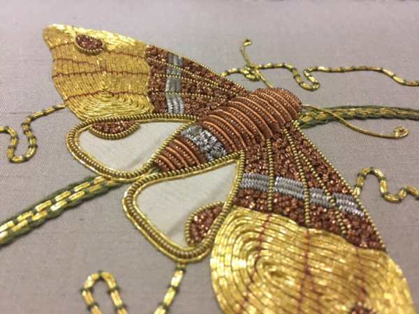 Learning how to stitch this butterfly may induce metal mania. It is one of the courses taught at the San Francisco School of Needlework And Design. Real metals have been used throughout history, so this would be a great class to learn from the past and apply to future projects.