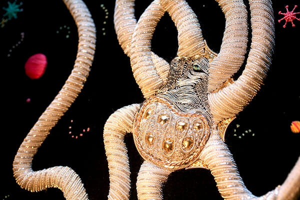 Embroidery detail: Space Octopus, by Annalisa Middleton