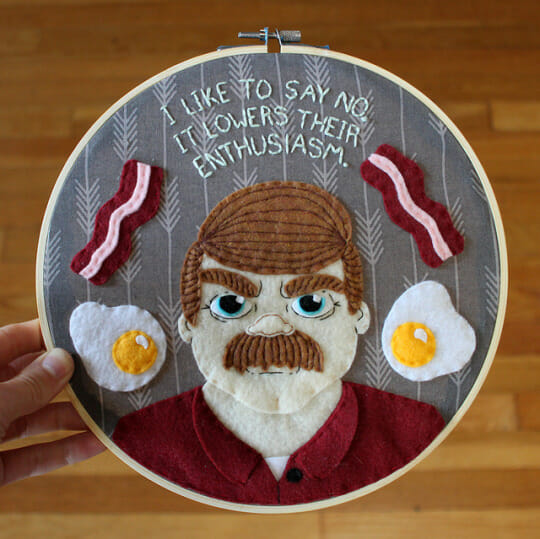 Love & A Sandwich's Ron Swanson Applique Hoop from 2017