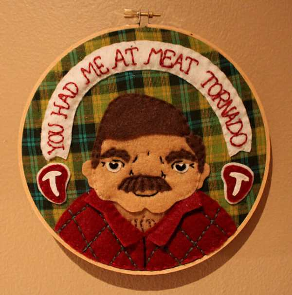 Love & A Sandwich's Ron Swanson Applique Hoop from 2011