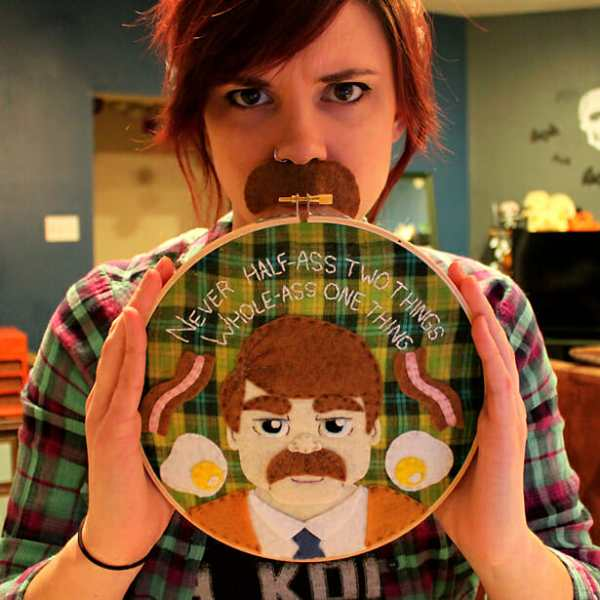 Love & A Sandwich's Ron Swanson Applique Hoop from 2016