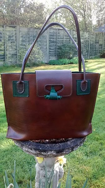 Leather handbag designed, stained and hand stitched by Suzanne Treacy - photo by Suzanne Treacy