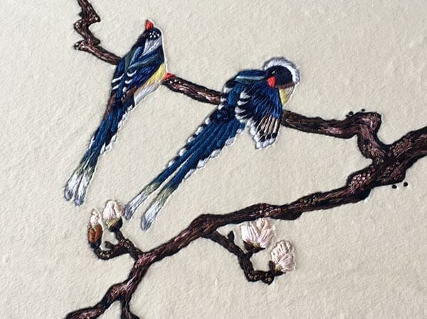 Embroidered birds, Elena Savelyeva