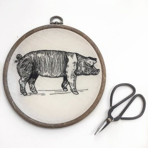 Tiny Hand Embroidery - Pig Embroidery Hoop