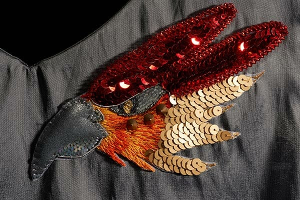 Phoenix sample head, by Claire Edwards, Hand & Lock Prize for Embroidery