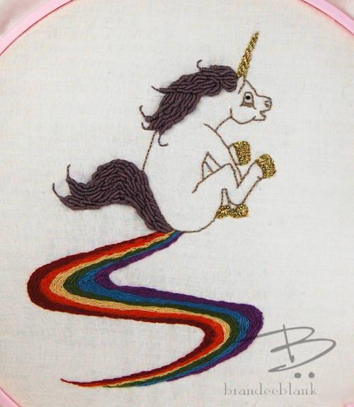 TinFoilHalo's Crass Unicorn Hand Embroidery