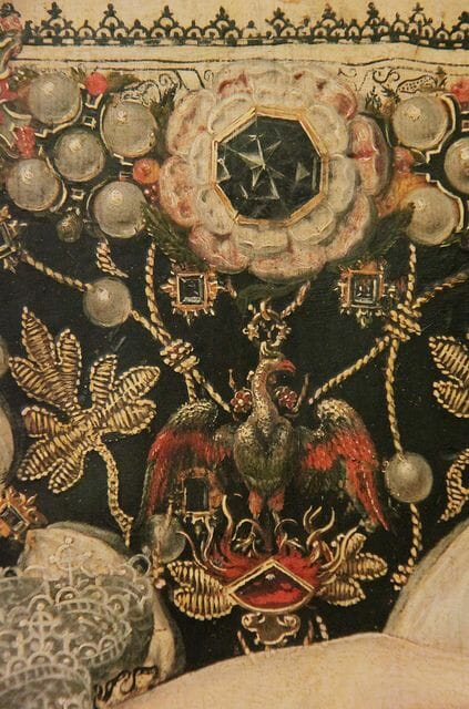 'The Phoenix' portrait of Elizabeth I - close up of the embroidery.