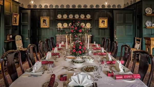 See the dining table set for a Standen Christmas day - Photo credit: Lawrence Homewood