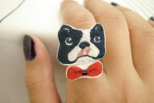 Boston Terrier with Red Bow Rings