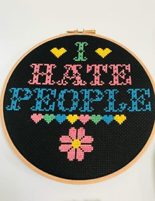 Iris Loves UK - I Hate People Cross Stitch Kit