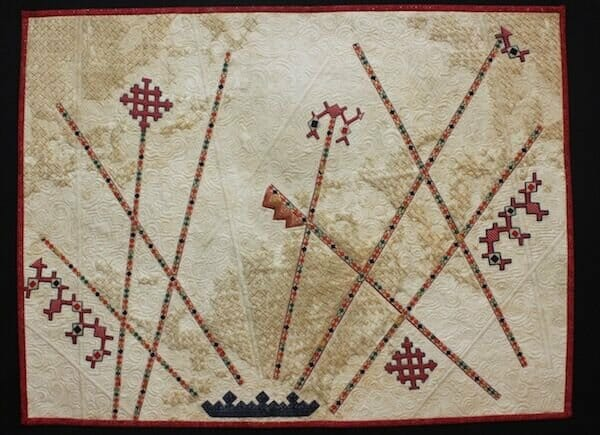 Becky Grover art quilt utilizing cross stitch in the quilting process