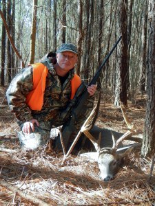This hunter took this 8-point as it walked the edge of a pine plantation and cutover.