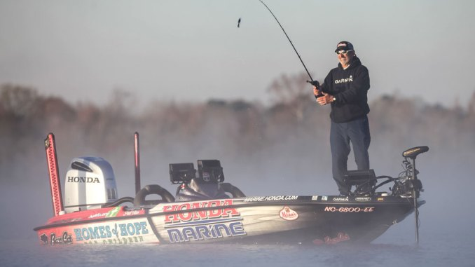 Paul Elias likes to fish on Pickwick Lake when fog is rising off the water just at daylight because he knows he'll have a busy day catching numbers of a wide variety of fish.
