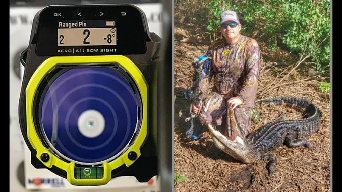 Garmin's Xero A1i sight (left) covers every need a bowhunter might come up with when he comes to full draw on a trophy animal. The author said the sight was instrumental in making a killing shot on this alligator (right) because of its ability to compensate for steep-angle shots. (Photo courtesy Randall Shaw)