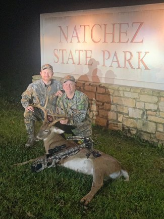 The conditions were right with the weather, temperature, and falling red oaks for Kenneth (right) and Garrett Wallace of Lincoln County. Kenneth harvested this bruiser buck on a four day archery draw hunt at Natchez State Park WMA.
