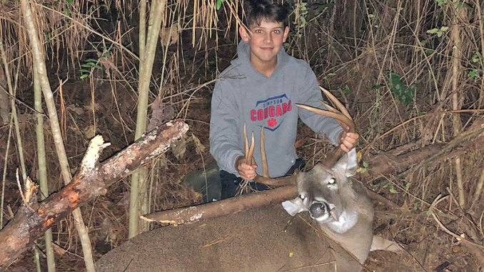 J.D. Harvey recently harvested his biggest buck to date while hunting fresh sign with his dad, Jason. The buck is a 10-point Jefferson Davis county bruiser with a 14 ½ inch inside spread and weighed 180 pounds.