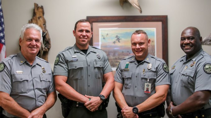 (Left to right) Colonel Steve Adcock, Private Brian Tallent, Major Jason Young and Lieutenant Colonel Jerry Carter.
