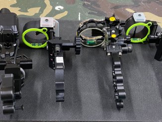 Main types of bow sights are (left to right): electronic range-finding, multi-pin slider, multi-pin fixed, and single-pin adjustable.