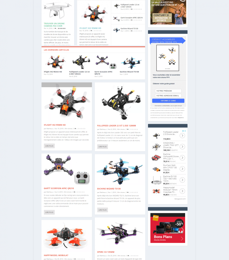 Screenshots du site nfrdrone.com