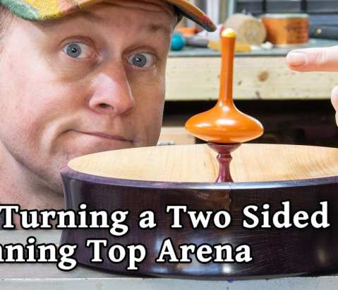 Turning a Double Sided Wood Spinning Top Arena Game