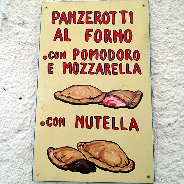 Panzerotti sign, on Ms. Adventures in Italy by Sara Rosso