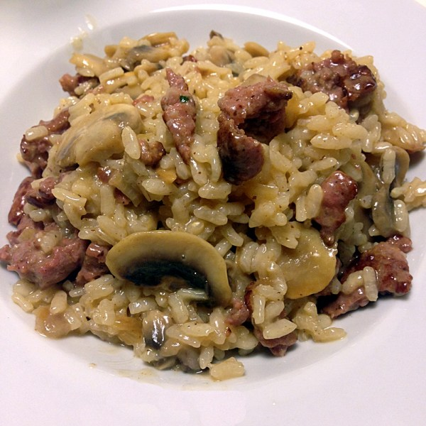 Sausage and Mushroom Risotto Recipe by Sara Rosso, Ms. Adventures in Italy